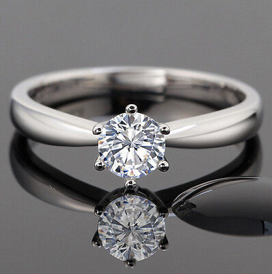 1Ct Solitaire Diamond Sterling Silver Vintage Engagement Ring   Free Shipping