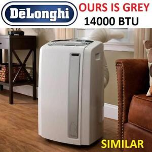 NEW DELONGHI AIR CONDITIONER PACAN140HPEWS.LG 186891617 14000 BTU PORTABLE PINGUINO DEHUMIFIER HEAT PUMP 4IN1 GREY