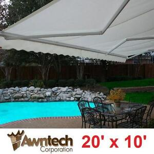 USED AWNTECH 20' MOTORIZED AWNING - 116121372 - BEAUTYMARK (10 ft. Projection) WHITE AWNINGS SHADE OUTDOOR COVER PATI...