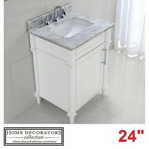 "NEW* HDC ABERDEEN 24"" VANITY COMBO - 124462475 - HOME DECORATORS COLLECTION WHITE CABINET CARRARA MARBLE TOP BATH BAT..."