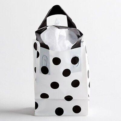 5x7 Small Black Polka Dot Plastic Retail Merchandise Shopping Gift Frosty Bags