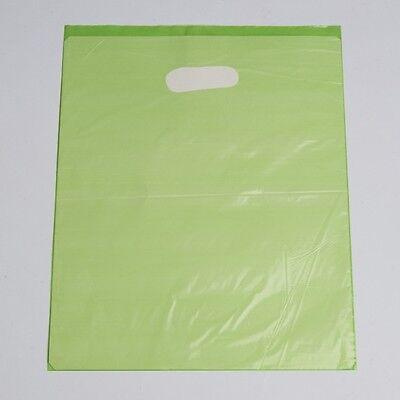 "Paste Shopping Bags 1000 Lime Low Density Merchandise Diecut Handles 12"" x 15"""
