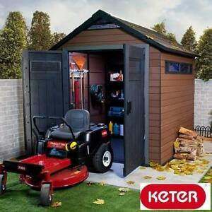 NEW* KETER FUSION COMPOSITE SHED 17199845 188508904 7.5' FT x 7' FT WOOD AND PLASTIC