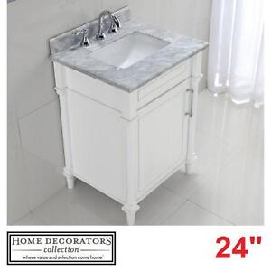 "NEW HDC ABERDEEN 24"" VANITY COMBO - 118067260 - HOME DECORATORS COLLECTION WHITE CABINET CARRARA MARBLE TOP BATH BATH..."