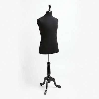 New Dress Jersey Form Male Black W Black Tripod Wooden Base Mannequin
