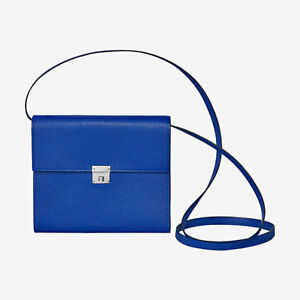 Hermes Clic 16 Wallet with strap Blue Elec Chèvre Mysore leather