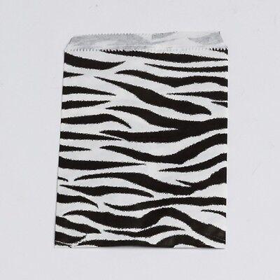 5 x 7 Small Paper Zebra Flat  Retail Merchandise Shopping Gift Bags 100 pcs