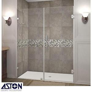 """NEW* ASTON NAUTIS SHOWER DOOR KIT - 122477783 - 60"""" x 72"""" HINGED CHROME GLASS SHELVES FRAMELESS ENCLOSURE SHOWERS BAT..."""