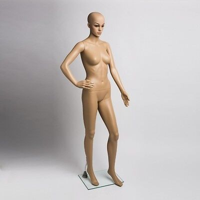 Plastic Female Mannequins Full Body Womens Mannequin Form Display Glass Base