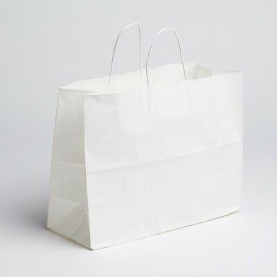 16 X12 Large Paper White Retail Merchandise Shopping Bags W Handles 100 Pcs