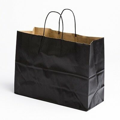 16 x12 Large Paper Black Retail Merchandise Shopping Bags w/ Handles 100 pcs