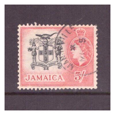 Jamaica QEII 1956 5/- black & carmine red Arms of Jamaica used SG172