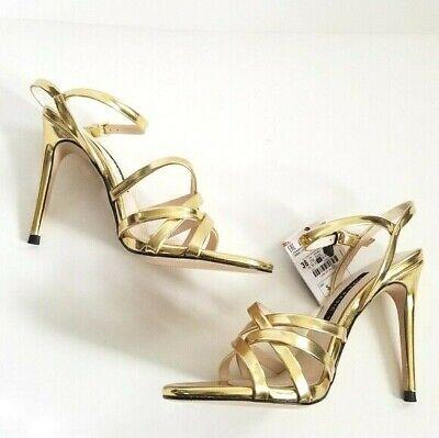 Zara  Women size 6.5 Strappy Gold Sandal Heels