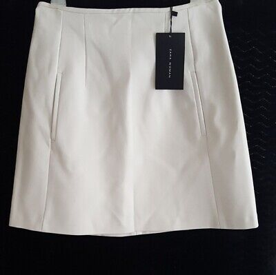 🍒NWT ZARA FAUX LEATHER SKIRT CREAM COLOR S 26