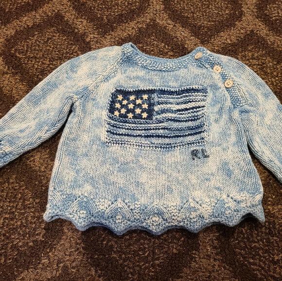 Ralph Lauren Toddler Blue Tie Dye American Flag Sweater RARE
