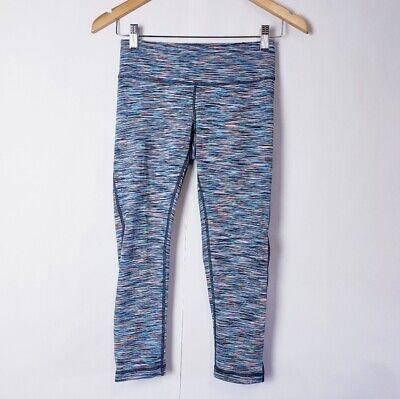 Zella Women's XS Cropped Space Dye Mesh Inserts Capri Legging