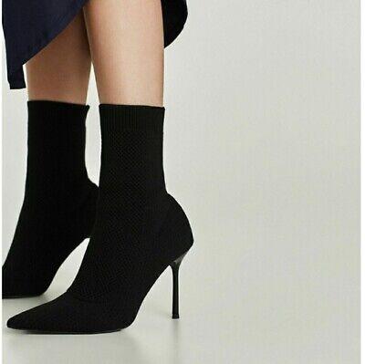 ZARA Socks Knit Bootie HIGH HEEL Black SHOES Pointed Toe Size US 6.5 / 37