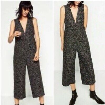 Zara Black Tweed Jumpsuit - Size S