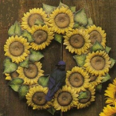 """Ceramic Bisque Ready to Paint """"Sunflower""""  Wreath with Crow"""