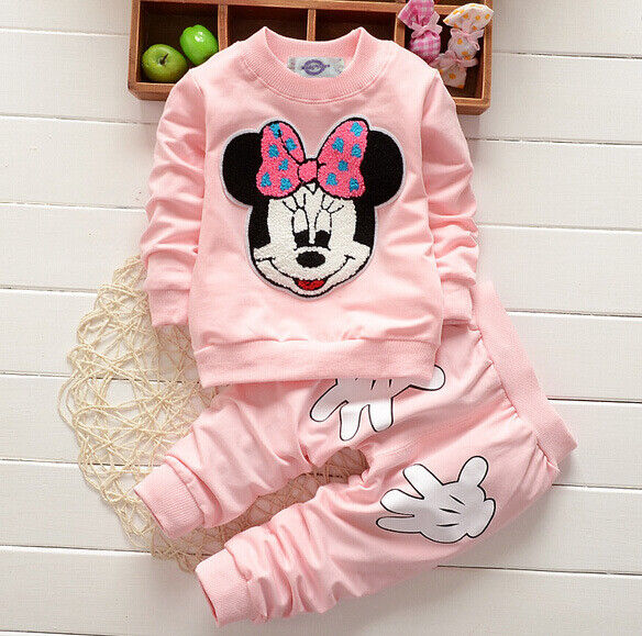 Baby Girl Minnie Mouse Long Sleeve Tops Tshirt Pants 2Pcs Outfits Set Clothes
