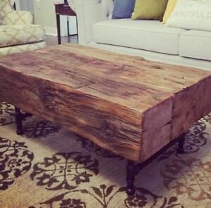 Rustic Beam Coffee Table Reclaimed Solid Wood and Pipe Legs