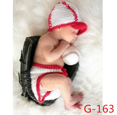 Baseball Base Baby Infant Knitted Crochet Costume Photo Photography Prop - Baby Baseball Costume
