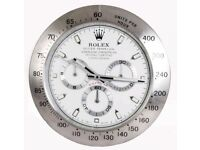 ROLEX WALL CLOCK, LARGE SIZE METAL CLOCK, Silver White Face