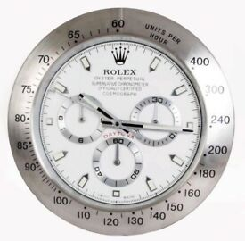 Rolex wall clocks, Large Metal clocks, Swiss made