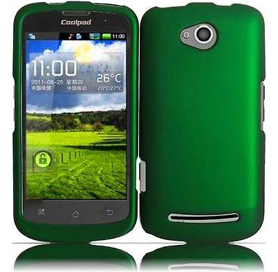 For Coolpad Quattro 4G Rubberized HARD Protector Case Phone Cover Dark Green Dark Rubberized Protector Case