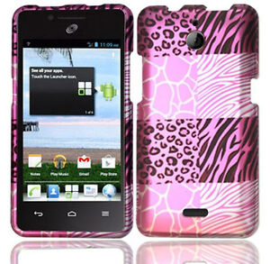 For-Huawei-H881C-ACE-Rubberized-HARD-Case-Phone-Cover-Pink-Exotic-Skins