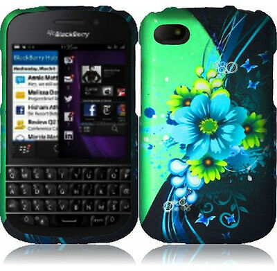 Rubberized Blue Snap - For BlackBerry Q10 Rubberized HARD Case Snap On Phone Cover Blue Green Flowers