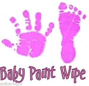 Nuevo-Bebe-Nina-Violeta-Lila-Bebe-Recien-Nacido-Pintura-Toallita-de-Mano-Huella