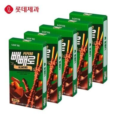Lotte PEPERO Almond Choco Stick Biscuit Snack Korea 37g*5 Boxes