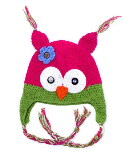Hot Pink & Green Owl Hat Sml 3-12 Months