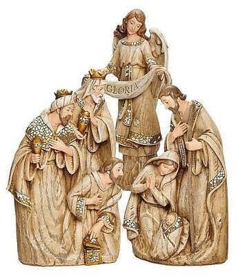 Mosaic Wood Carved 3-Piece Nativity Set by Roman