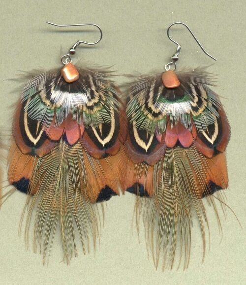 CUSTOM Eagle-Design Pheasant Feather Earrings BOLD!! ~ Handmade in USA