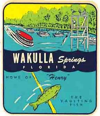 - Wakulla Springs, FL   Florida   Vintage 1950's-Style  Travel Decal/Sticker