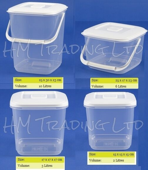 Clear Plastic Food Storage Canister Container Tub Freezer