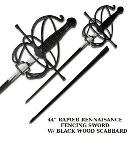 "44"" RENAISSANCE RAPIER FENCING SWORD W/ SWEPT HILT GUARD + BLACK WOOD SCABBARD"