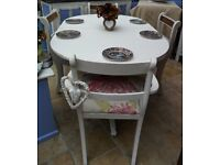 Shabby chic, vintage 5 ft table and 4 x upholstered chairs, newly finished