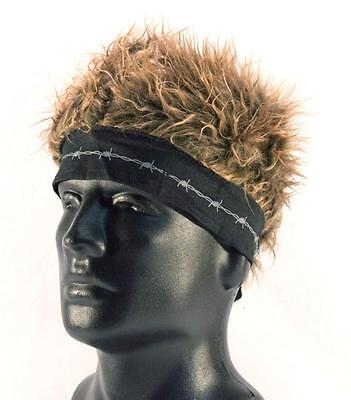 BANDANA HAT WITH SPIKED UP BROWN HAIR novelty cap funny MENS WOMENS new fake wig (Novelty Wig)