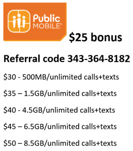 Public Mobile $25 bonus credit, plans from $10 up