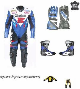 GSXR SUZUKI Leather Suit Motorbike Motorcycle Leather Jacket Pant Gloves Boots