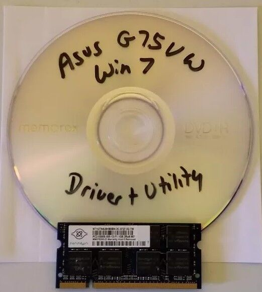 Asus G75VW Windows 7 64bit factory driver and software recovery disk (1 ddr2)