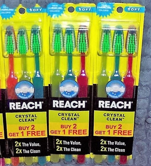9 NEW REACH CRYSTAL CLEAN TOOTHBRUSHES - FULL SOFT HEAD TOTA