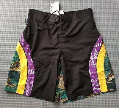 John Galliano men's text & animal print board swim shorts - back pockets