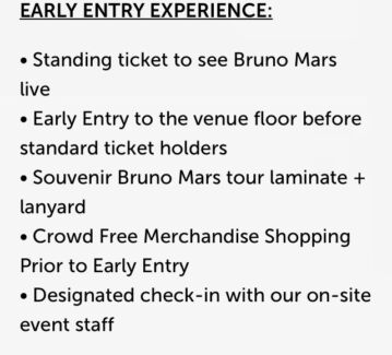 Early Entry Package Bruno Mars tickets March 2018