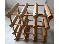 9 bottle wooden wine rack
