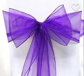 100 CADBURYS PURPLE Organza Chair Sashes.