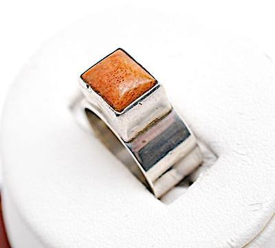 Clean Simple Design Sterling Silver 925 Bezeled Coral Ring - Sz 6.5 - Stamped
